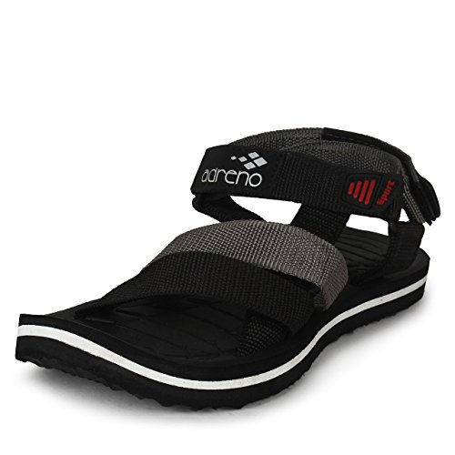 Adreno Men's Black Polyester Sandals & Floaters (ADRS107BLK_10) - 10 UK