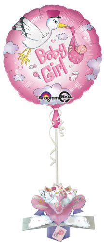 amscan Baby Girl Storch Pop Up Gewicht Goil Ballon, Rosa