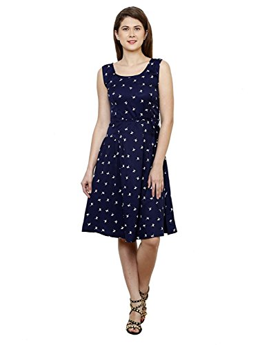Vastrasutra Sleeveless Blue Printed Crepe Party Dress
