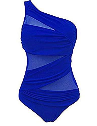 FeelinGirl Damen Sexy Uni Badeanzug Bandeau Figurformender Größe 3XL Blau