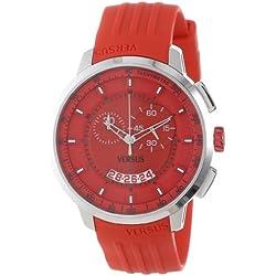 Versus Manhattan Chronograph Red Dial Red Rubber Herren Armbanduhr SGV020013