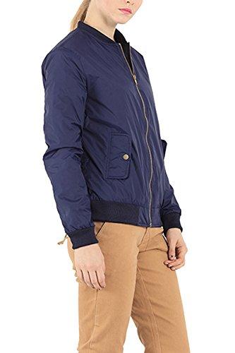 Bomber court Zip-up Jacket Coat des femmes Darkblue
