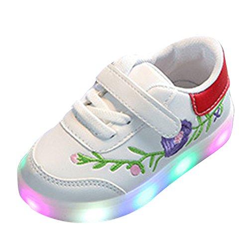 Jungen Mädchen leichte Schuhe,Juleya Kleinkind Kinder Blume Rebe Helle Sporting Sneakers Trainer rot EU (Kleinkind Rote Schuhe)