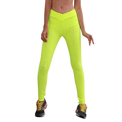 YEBIRAL Las Mujeres de Cintura Alta Yoga Fitness Leggings Correr Leggins Pantalón Deportivos Pantalones Push Up Pilates Training Running Yoga(S,Amarillo)