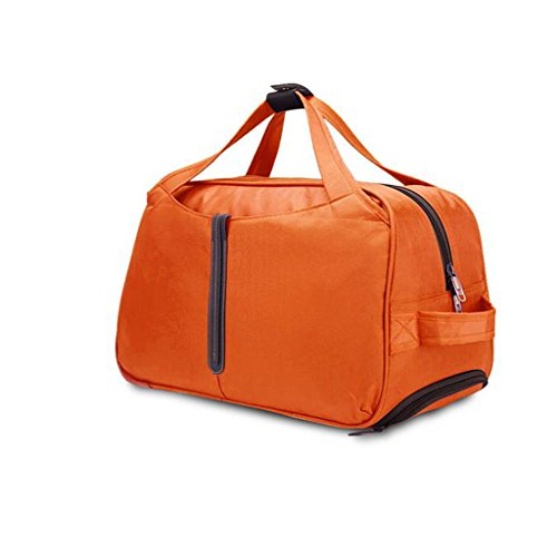 Lightweight Wheeled Travel Bag - Kingwo Freewheel Wheeled Rolling Backpack Travel Bag Suitcase Rolling Pack Trolley Rolling Luggage Case Roomy Bag(orange)