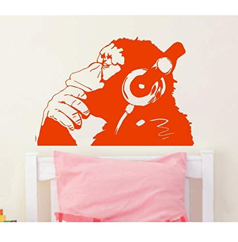 xiaoshuaige Vinyl Wandtattoo AFFE Mit Kopfhörer Schimpanse Musik Hören In Kopfhörer Straße Graffiti Aufkleber Wandbild Poster 90X120 cm
