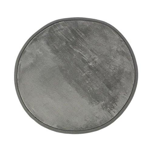 MonBeauTapis Tapis Rond Noir Extra Doux Antidérapant Flanelle Polyester Gris 70 x 70 cm