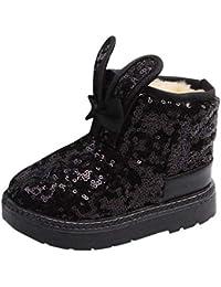 DAYLIN Niñas Botas, Invierno Conejo Orejas Bling Lentejuelas Botas de Nieve Calentar Zapatos