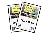 3-B Set DE 2 Pièces Cadres FOTO - 29,7x42 (A3) - Noir - Cadre en Plastique, Cadre pour Photo