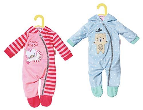 Zapf Creation Dolly Moda Onesies 2 sortierter Schlafanzug für Puppen, 43 cm, Zubehör für Puppen, 3 Stück, Mehrfarbig, 39 cm, 46 cm, 250 mm