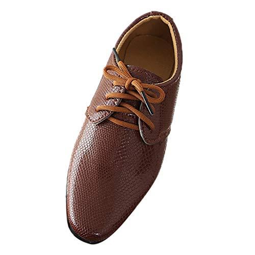 Pingtr - Lederschuhe Junge - Junge Schuhe Schnürhalbschuhe Elegant Oxford Anzug Leder Derby Männer Lackleder Lederschuhe