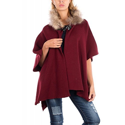 Ideal Shoes Swan - Cape avec Capuche à Fourrure Beatriz Bordeaux