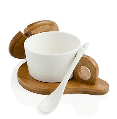 Brandani 55751 formaggera con cucchiaino in porcellana bianca e supporto e coperchio bamboo