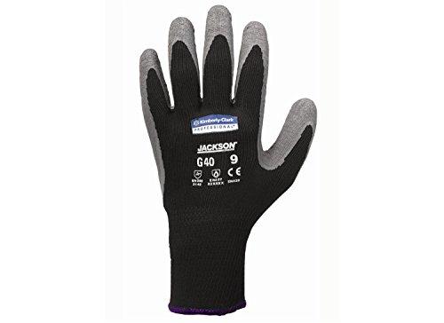 Gants Textile Enduit Latex JACKSON SAFETY* G40 - 97272 - 5 sachets de 12 paires de gants gris et noir de forme anatomique, Taille 9