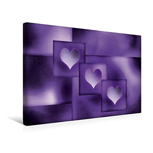 Calvendo Premium Textil-Leinwand 45 cm x 30 cm Quer, Die Drei lila Herzen   Wandbild, Bild auf Keilrahmen, Fertigbild auf Echter Leinwand, Leinwanddruck Lifestyle Lifestyle