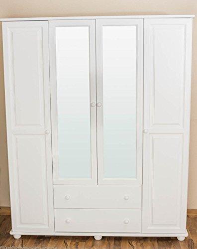 Landhaus-Stil Kiefer-Kleiderschrank massiv Weiß 195x162x59 cm