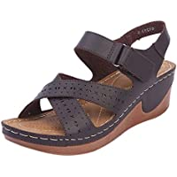 Verano Plataforma Mujer Sandalias De TacóN De CuñA Hueca Correa De Tobillo Zapatos CóModos Peep Toe