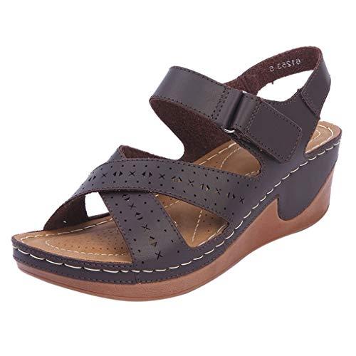 Felicove Damen Sandalette,Sandalen mit hohem Keilabsatz - Wasserdichte Sandalen - Schuhe mit Klettverschluss für Damen (Fersenlänge 5cm-8cm), EU 36-41