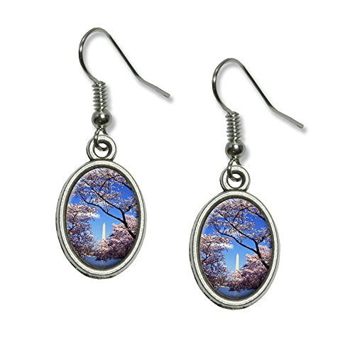 Cherry Blossoms in washingon DC Neuheit Dangling Drop oval Charm-Ohrringe