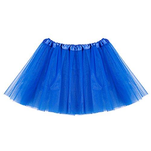 Tutu Rock 3 Layers Tüll Minirock Tanzkleid Petticoat Pettiskirt Unterrock für Fasching Royalblau