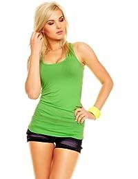 Damen Tank Top Long Top Longshirt Ringer Rücken Racerback T-Shirt
