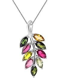 colorfey 18pulgadas de plata de ley Lovely de hojas Natural Gemstone turmalina sólido cadena colgante collares para las mujeres niñas