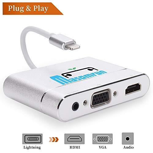 MASOMRUN Cable adaptador de Ligh tning a HDMI/VGA