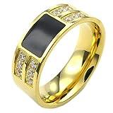 KONOV Schmuck Herren-Ring, Damen-Ring, Zirkonia Diamant Edelstahl, Klassiker, Gold Schwarz - Gr. 65