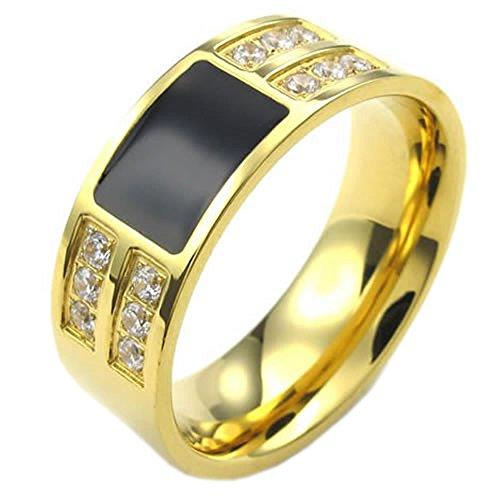 KONOV Schmuck Herren-Ring, Damen-Ring, Zirkonia Diamant Edelstahl, Klassiker, Gold Schwarz - Gr. 68 Zirkonia Ringe In Titan