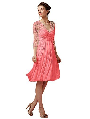 Find Dress Elégant Robe de Soirée Longue pour Femme Ronde Grande Taille Robe Cocktail Manche Longue 3/4 avec Col V Profond en Mousseline avec Dentelle Floral Corail
