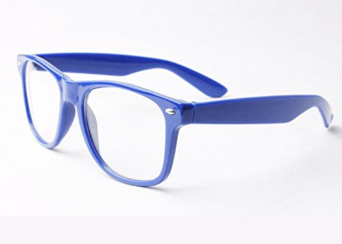 Blau Clear Lens Wayfarer-Style Nerd Geek Retro Hipster Brille Fancy Rave Party Kleid