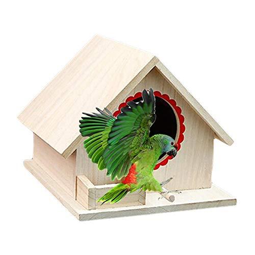 Hearthrousy Casa de Pájaros de Madera Casa de Aves Al Aire Libre Casa de Pájaros de Madera...