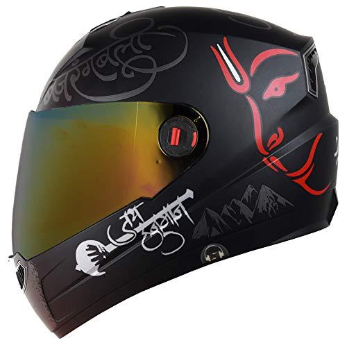 Steelbird SBA-1 Mahavir Full Face Graphic Helmet (Large 600 MM, Matt Black/Red with Gold Visor)