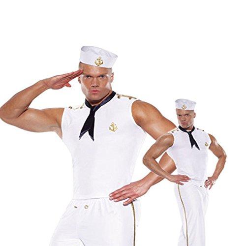 Gorgeous Halloween- Parteikostüm -Rollen Männer Kostüme kleiden weiß Navy sailor Herrenbekleidung Untercode , (Männer Sailor Kostüme)