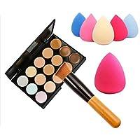 FEITONG - Set de paleta de correctores con 15 colores + esponja puff + brocha de maquillaje