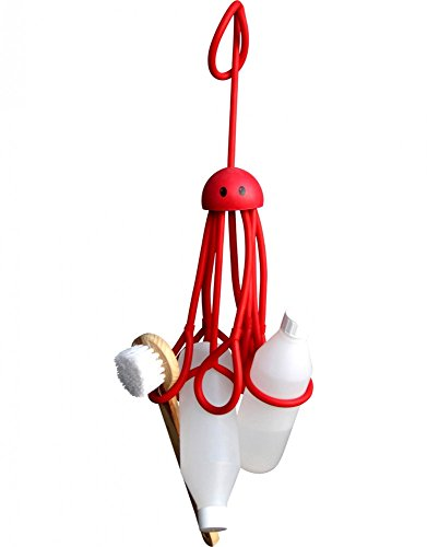 Formverket Shampoohalter Duschgelhalter Octopus ca. 33 cm lang zum Hängen verstellbare Schlaufen Latex, rot