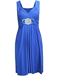 Neue Frauen Plus Size knielangen Wunderschöne Buckle Abend Kleid 36-54