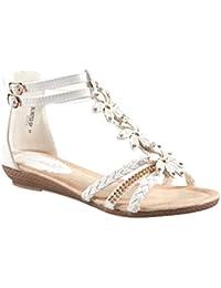 King Of Shoes Sommer Damen Riemchen Keil Sandalen Keilabsatz Wedges Blumen  Sandaletten Q1 c4b6f48679