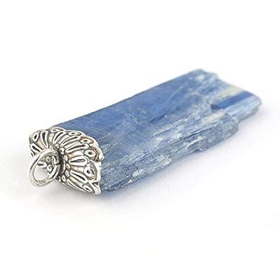 """Pendentif de cristal Kyanite brut bleue de forme irregulière serti d'argent 925, 38x15x5 mm (1.52 x 0.6 x 0.2"""")"""