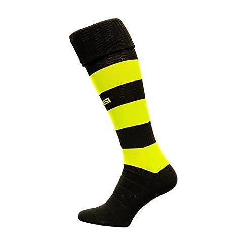 Modèle C Chaussettes de football 100 % respirantes Plusieurs couleurs, Noir/jaune fluo, 27-31