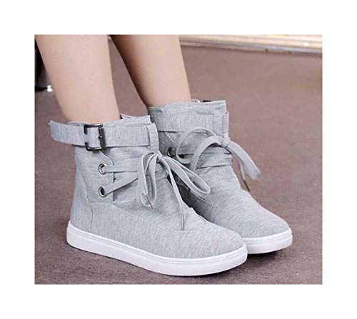 Girls Canvas Boards Shoes Lace Up Trainers Sneakers Outdoor Buckle Strap Women Grey UK2.5=US4.5=AU3=EUR 35