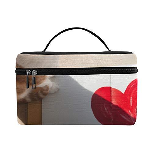 Womans Makeup Case Kawaii Tier Katze Mit Buch Große Größe Dame Kosmetiktasche Makeup Organizer Lunchbox Tote Halter Fall Für Mädchen Frauen Benutzerdefinierte Kosmetiktasche (Taschen Buch Girly)