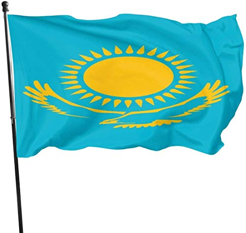 Oaqueen Bandiere Kazakhstan Flag Official Flags Durable House Flag Fade Resistant Outdoor Banner with Grommets Quality Decorative Flags for College Weekend Sports 2020-3X5 Ft