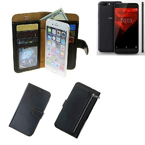 K-S-Trade® Für NOA H10le Portemonnaie Schutz Hülle Schwarz Aus Kunstleder Walletcase Smartphone Tasche Für NOA H10le - Vollwertige Geldbörse Mit Handyschutz