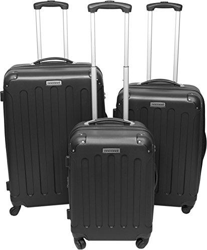 3er Hartschalen ABS Hochglanz Koffer Set in verschiedenen Motiven und Ausführungen Farbe Schwarz