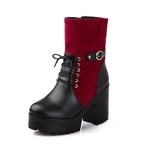 AllhqFashion Damen Hoher Absatz Weiches Material Gemischte Farbe Reißverschluss Stiefel, Blau, 42