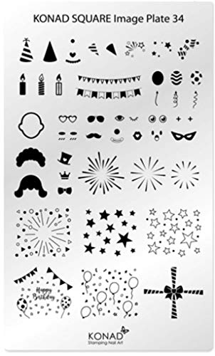 (Original KONAD Square 34 Stamping Schablone - SQUARE No. 34 Image Stamping Plate - Party Karneval Silvester)