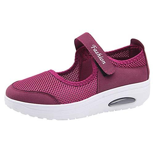 HHyyq Femme Chaussures De Sport 2019 Mode Chaussures À Coussin d'air Respirantes Et Confortables Fond Épais Chaussures À Bascule Mesh Casual Sneakers Baskets Compensée Plateforme