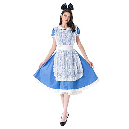 Kostüm Süß Alice - Cuteelf Frauen 3-teiliges Kleid Bayerisches Bierfest Cosplay Kostüm Oktoberfest Dienstmädchen Kostüm Kleid Kostüm Retro Solid Color Rock Design Roman Puff Sleeve Lace Schürze