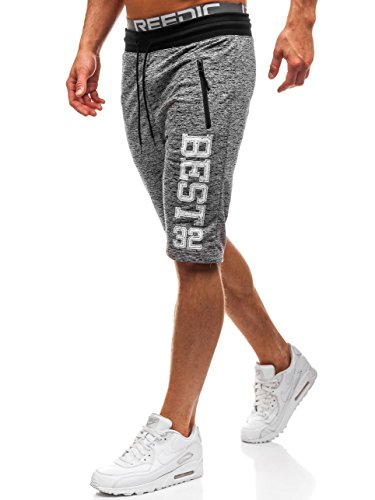 BOLF Herren Kurzehose Jogging Shorts Sport Style Red Fireball HL8578 Grau M [7G7]